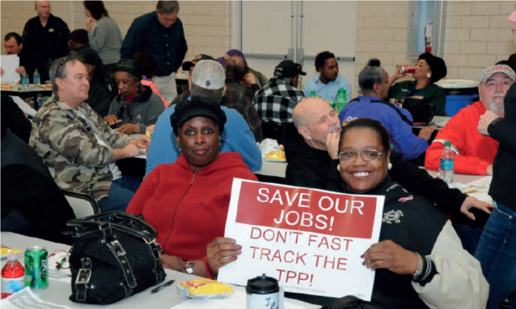 UAW members were out in force last year to try to stop the Trans-Pacific Partnership from receiving Fast Track approval. We will continue to fight the job-killing TPP this year.