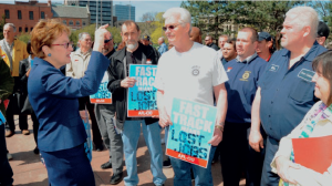 U.S. Rep. Marcy Kaptur, whose district includes the Toledo, Ohio, area, speaks with UAW members about trade at a demonstration last year.