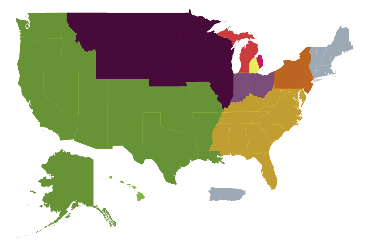 Regions | UAW on union confederate map state names, union membership by state, united states map, right to work state and map,