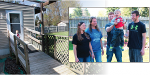 Above: Tina Kollek and family in front of a memorial garden for Cynthia in their front yard. Tina's daughter- in-law, Amanda Kollek, left, son Christoper holding his nephew, Jaxon, and Tina's son Joshua. Left: Local 651 members donated the funds that allowed Tina's husband to build this ramp for Kollek and her daughter.
