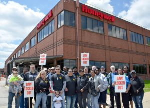 UAW Local 9 members at Honeywell gather in solidarity at the facility in South Bend, Indiana.